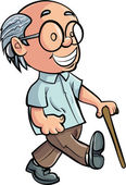 Cartoon Grandfather walking with a stick — Stock Vector