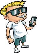 Nerd fumetto con uno smart phone — Vettoriale Stock
