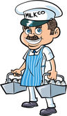 Cartoon Milkman delivering milk — Stock Vector