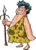 Cartoon caveman with a spear — Stock Vector