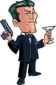 Cartoon spy character with martini — Stock Vector