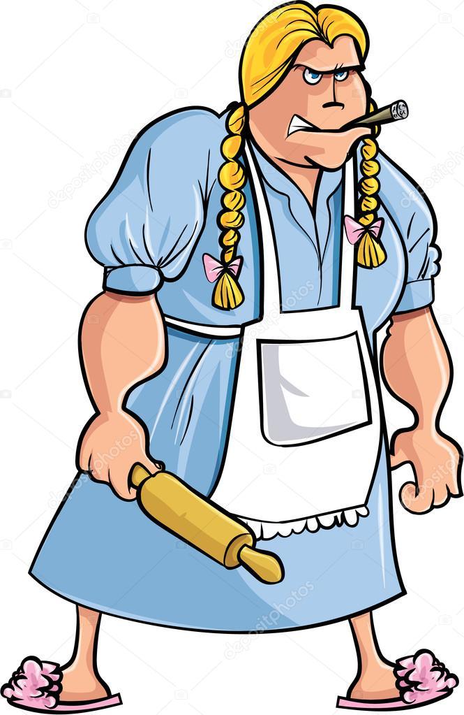 Femme en colère de dessin animé avec le rouleau à pâtisserie \u2013 Illustration