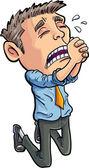 Cartoon office worker begging for his job — Stock Vector