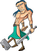 Cartoon barbarian with sword and hammer — Stock Vector