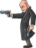 Cartoon bald gun man pointing his gun — Stock Vector