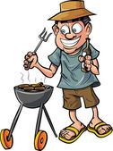Cartoon man having a barbecue — Stock Vector