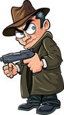 Cartoon gangster with a gun and hat — Stock Vector