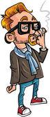 Cartoon hipster smoking a cigarette. — Stok Vektör
