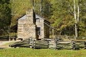 Log cabin, cades cove, parco nazionale di great smoky mountains — Foto Stock