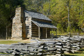 Blockhaus, cades cove, great-smoky-mountains-nationalpark — Stockfoto