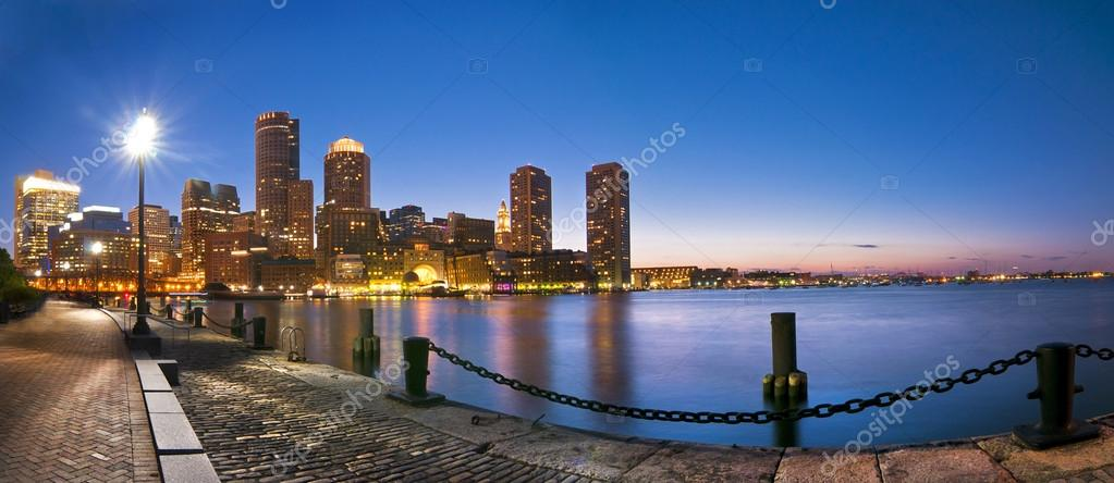 Boston Skyline Sunset Panoramic from Fan Pier — Stock Photo #18308443