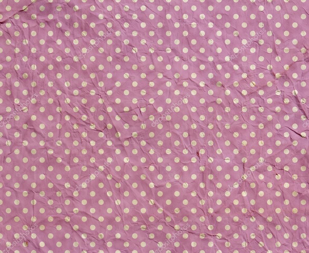 Texture of crumpled pink paper with polka dots — Stock ...