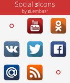 Color Social Media Icons. Векторная иллюстрация — Stock Vector