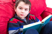 Kid Reading Book on the Couch — Foto de Stock