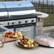 Skewers and Outdoor Kitchen — Stock Photo