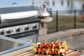 Skewrs and Barbecue — Stock Photo