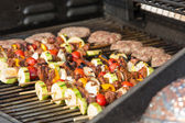 Skewers and Beef Patties — Stock Photo
