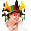 Senior Lady with Jester's Hat — Stock Photo #30359777
