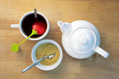 Infused Tea Brown Sugar and Teapot — Stock Photo
