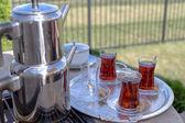Contemporary Turkish Tea Served — Stock Photo