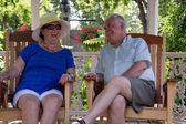 Retired Couple Having Fun Conversations — Stock Photo
