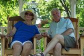 Retired Couple Resting in the Gazebo — Stock Photo