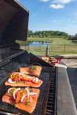 Fresh salmon steaks on the barbecue — Stock Photo