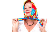 Proud of my colorful Scarf — Stock Photo