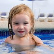 Pretty Tired Girl In the Pool — Stock Photo