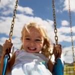 Little Toddler Girl on Swing — Stock Photo