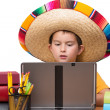 Studying Young Mexican Boy — Stock Photo