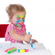 Toddler Girl Learning How To Draw — Stock Photo