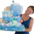 Baby Diaper Cake with Diffrent Items Presented — Stock Photo