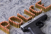 Police Writing with Bullets — Stock Photo