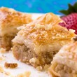 Three Pieces of Golden Color Walnut Baklava — Stock Photo
