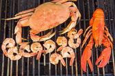 Una parrillada de langosta, cangrejo y camarones jumbo — Foto de Stock