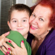 Grandmother and Grandson Cheek to Cheek Hug — Stock Photo