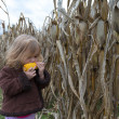 Curious Kid Trying to Eat Dry Corn Ear — Stock Photo #35006161