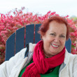 Red Hair Senior Lady in Autumn — Stock Photo