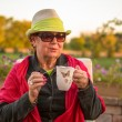 Tea Time to Stay Warm, Senior Lady with her Hot Tea — Stock Photo #35076231