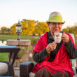 Tea Time to Stay Warm, Senior Lady with her Hot Tea — Stock Photo