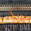 Cooking Salmon on Cedar Plank in the Barbecue — Stock Photo