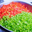 Stock Photo: Green and Red Bell Peppers Cleaned and Washed as Cooking Ingredi