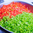 Green and Red Bell Peppers Cleaned and Washed as Cooking Ingredi — Stock Photo
