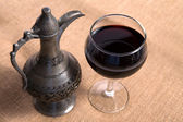 Simple View Of Pewter Flagon and Red Vine in the Glass — Stock Photo
