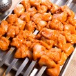 Seasoned Chicken Skewers Ready to Grill — Stock Photo
