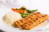 Chicken Adana Kebap Served with Rice Pilaf Vegetables and Red Vi — Stock Photo
