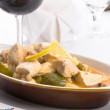 Lemon Chicken Complimented with Red Wine — Stock Photo