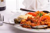 Appetizer Sampler Plate with Turkish Ezme, Hummus, Babaganoush a — Stock Photo
