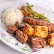 Mixed Chicken, Beef, Adana, Doner Kebabs Served with Rice — Stock Photo